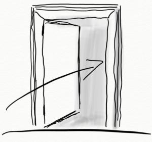 Den Raum der Werte durch eine Tür betreten